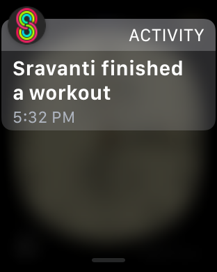 "Activity notification that reads: ""Sravanti finished a workout."""