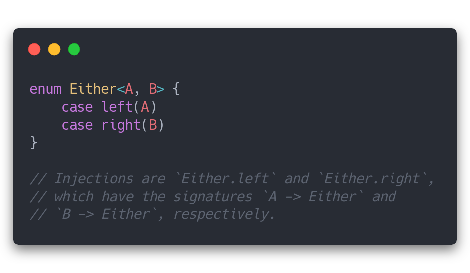 `Either` and a note on its injection functions.