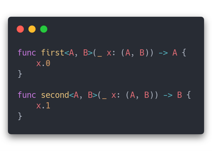 Projection functions `first` and `second`.