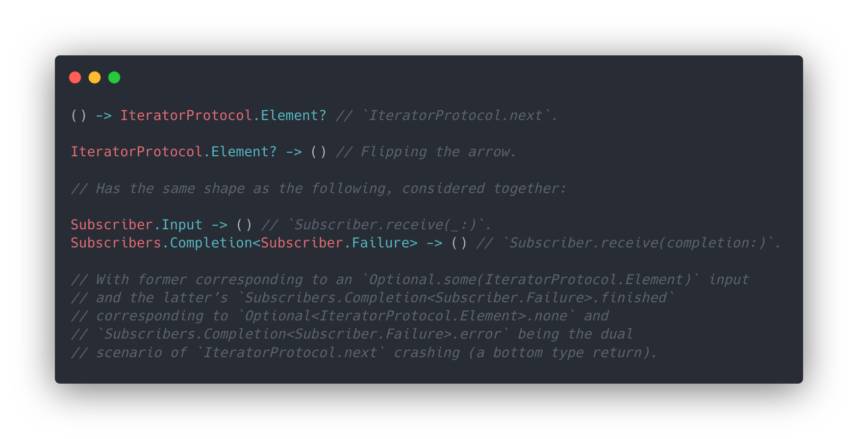 Demonstrating how `Subscriber` is the dual of `IteratorProtocol`.